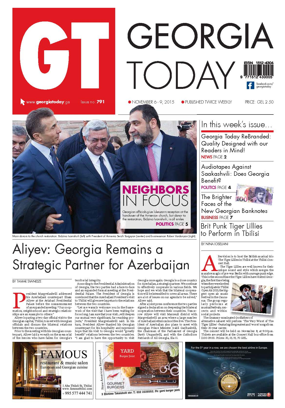 Front Page of the first re-branded issue of Georgia Today.