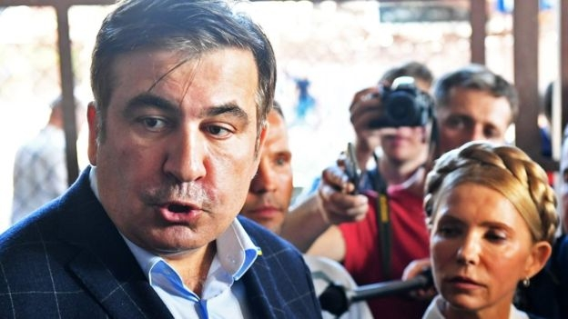 Stateless ex-leader Saakashvili boards train to Ukraine