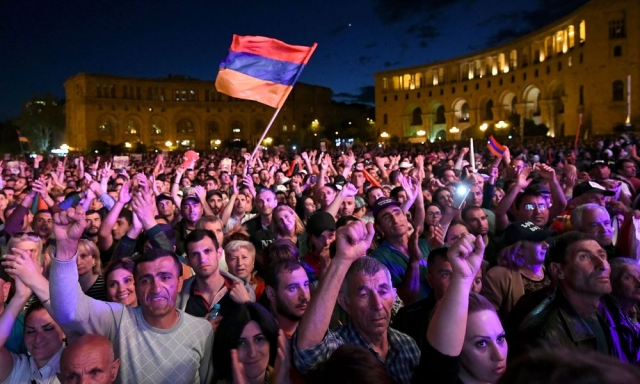 Armenian opposition leader's supporters gathering in downtown Yerevan ahead of voting